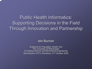public health decision support partnerships - Northwest Institute for ...