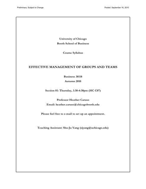 effective management of groups and teams - The University of ...