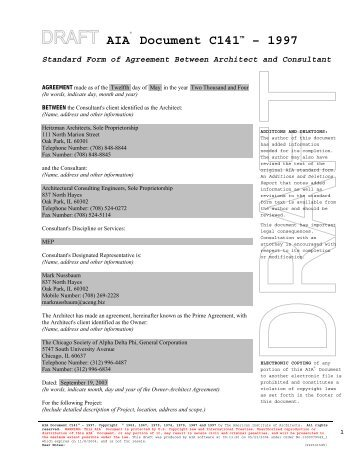 Part 1 Agreement Between Owner and Architect