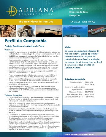Perfil da Companhia - Adriana Resources Inc.
