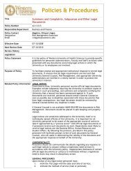 Summons, Complaints and Subpoenas Policy. - Western University ...