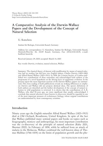 A Comparative Analysis of the Darwin-Wallace Papers and the ...