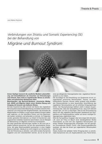 Migräne und Burnout Syndrom - Shiatsu-Netz