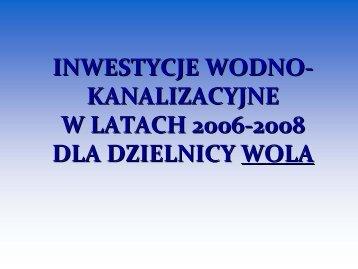 Inwestycje wodno-kanalizacyjne w latach 2006-2008