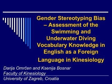 Gender Stereotyping Bias – Assessment of the Swimming and ...