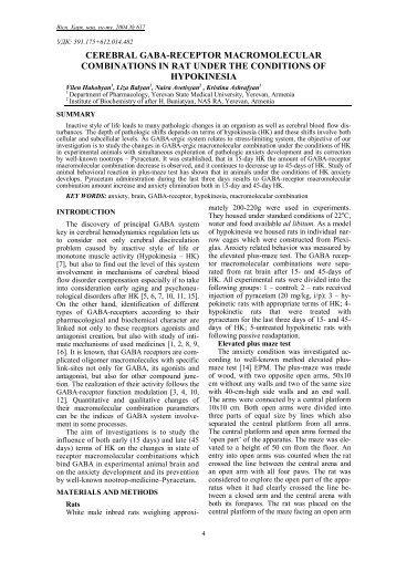 cerebral gaba-receptor macromolecular combinations in rat under ...