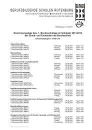 Einschulungstage bzw. 1. Berufsschultage im ... - BBS Rotenburg