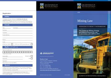 Mining Law - Faculty of Law - The University of Western Australia