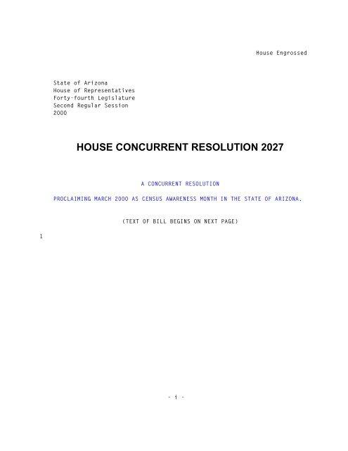 Arizona State Representatives >> House Concurrent Resolution 2027 Arizona State Legislature