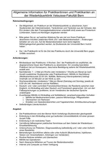Allgemeine Information für Praktikantinnen und Praktikanten an der ...