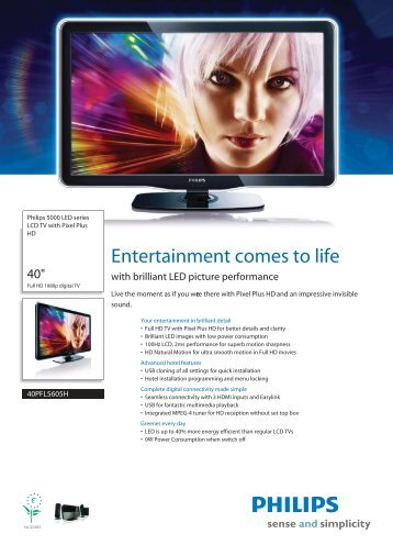 40PFL5605H/12 Philips LCD TV with Pixel Plus HD - Yardley ...