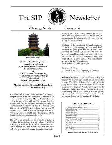 The SIP Newsletter - Society for Invertebrate Pathology