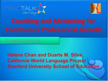Coaching and Mentoring for Continuous Professional ... - StarTalk