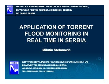 Application of Torrent Flood Monitoring in real-time in Serbia