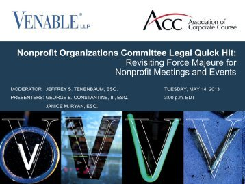 "Revisiting ""Force Majeure"" for Nonprofit Meetings ... - Venable LLP"
