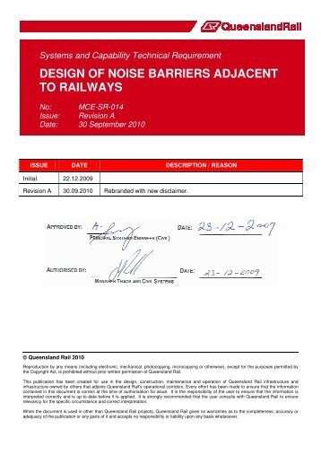 design of noise barriers adjacent to railways - Queensland Rail