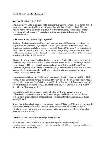 Noorte Ettevõtluskodu pilootprojekt - Tartu Ülikooli Ettevõtluskeskus