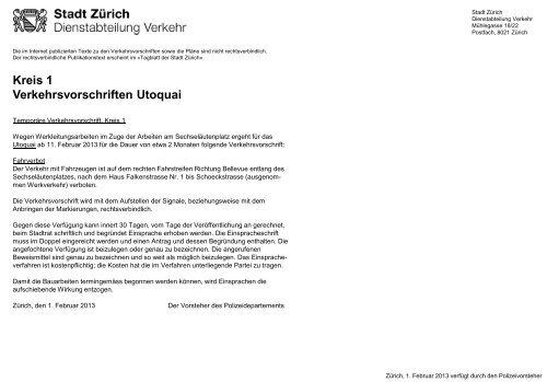 Kreis 1, Temporäre Verkehrsvorschrift Utoquai (PDF, 2 Seiten - Zürich