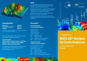 Folder MATLAB Kurs :: Martin H Trauth PD :: Potsdam - Geo.X