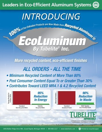 """Tubelite Recycled Content""""…… - Syracuse Glass"""