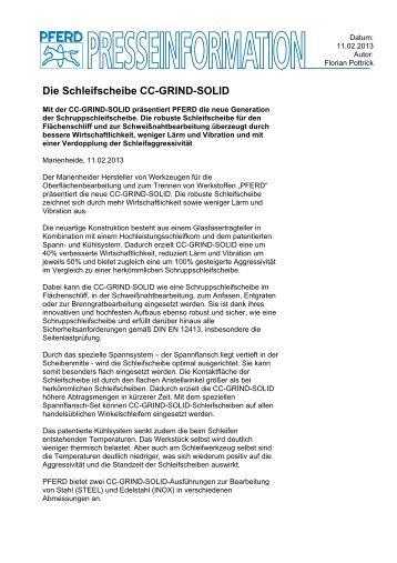 Pressemitteilung CC-GRIND-SOLID - PFERD