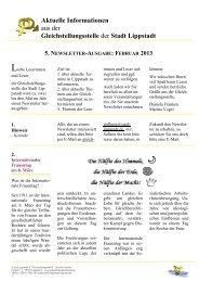 5. Newsletter der Gleichstellungsstelle, Februar 2013 - Lippstadt