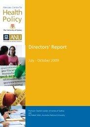 Directors' Report - Crawford School of Public Policy