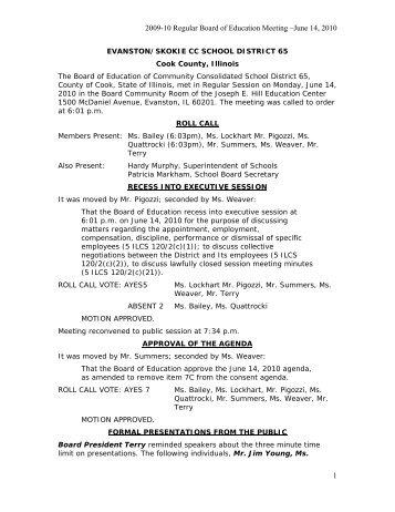 2009-10 Regular Board of Education Meeting –June 14 ... - District 65