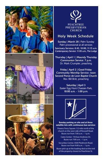 Holy Week Schedule - Peachtree Presbyterian Church