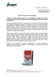 Lepo® - nowość w ofercie Lafarge W maju br. firma Lafarge Cement ...