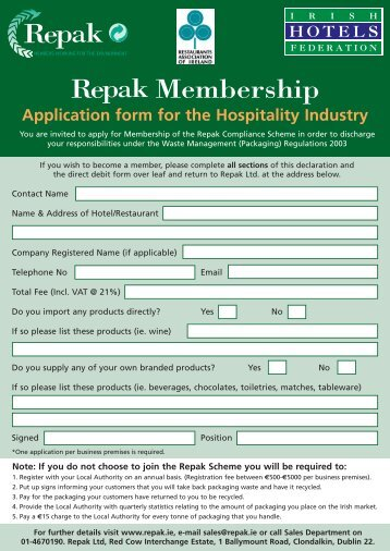 Hotel Application Form - Repak