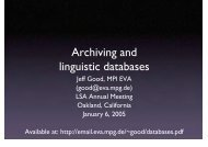 Archiving and linguistic databases