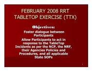 TableTop Exercise Day 1 - U.S. National Response Team (NRT)
