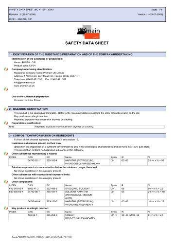 SAFETY DATA SHEET - Promain