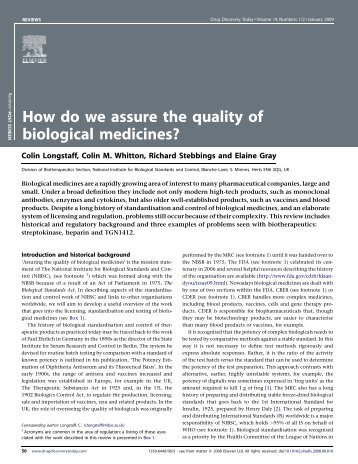 How do we assure the quality of biological ... - ResearchGate