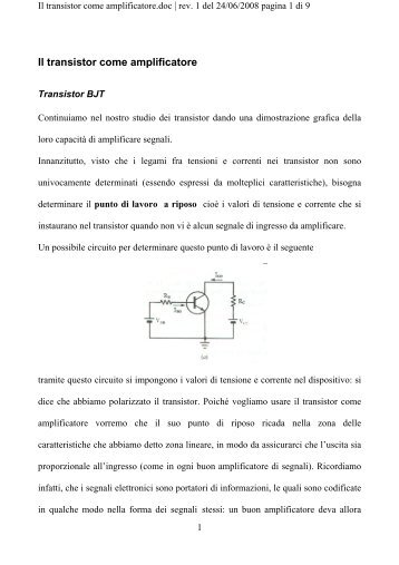 Il transistor come amplificatore - LTPA Observer Project