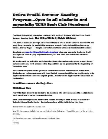 Extra Credit Summer Reading Program… - The Catholic High ...