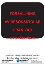Försäljning Besöksstolar från utställning Borås - Edsbyn Inredningar