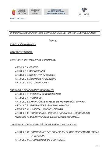 Ordenanza reguladora de terrazas y veladores - Ciudad Autónoma ...
