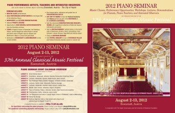 August 2-13, 2012 - Classical Music Festival - University of Oklahoma