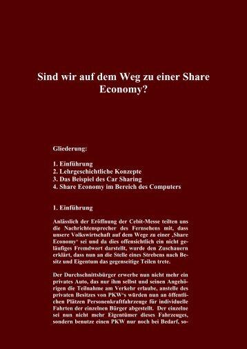 Sind wir auf dem Weg zu einer Share Economy? Gliederung