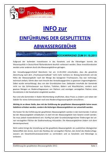 INFO zur EINFÜHRUNG DER GESPLITTETEN ABWASSERGEBÜHR
