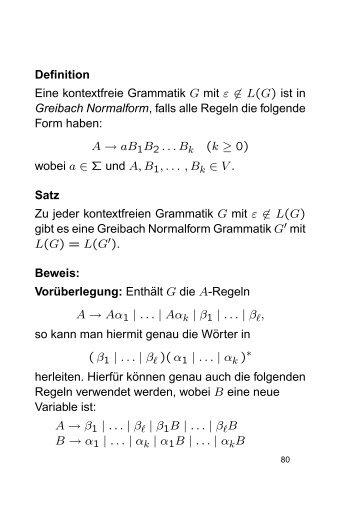 Definition Eine kontextfreie Grammatik G mit ε ∈ L(G) ist in Greibach ...