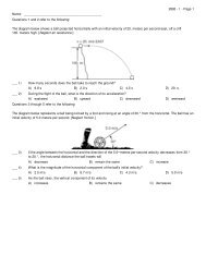 Practice Projectile Motion Exam