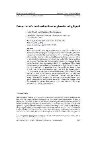 Properties of a confined molecular glass-forming liquid - dirac
