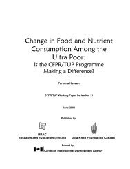 Change in Food and Nutrient Consumption Among the Ultra Poor:
