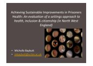 Achieving Sustainable Improvements in Prisoners Health: An ...