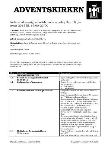 Referat af menighedsrådsmøde onsdag den 18. ja- nuar 2012 kl ...