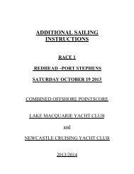 ADDITIONAL SAILING - Newcastle Cruising Yacht Club