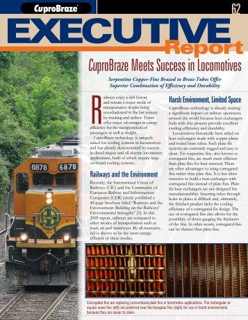 CuproBraze Meets Success in Locomotives
